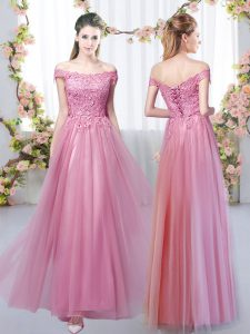 Enchanting Pink Empire Lace Quinceanera Dama Dress Lace Up Tulle Sleeveless Floor Length