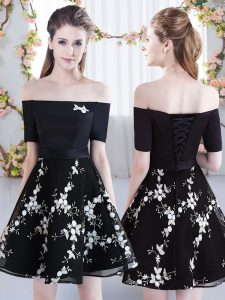 Black Short Sleeves Organza Lace Up Dama Dress for Quinceanera for Prom and Party and Wedding Party