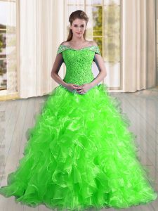 Unique Sleeveless Sweep Train Lace Up Beading and Lace and Ruffles Quince Ball Gowns