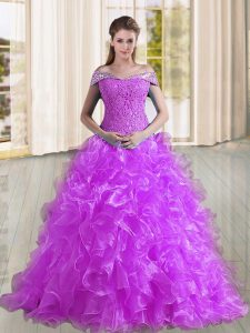 Purple Lace Up Off The Shoulder Beading and Lace and Ruffles Ball Gown Prom Dress Organza Sleeveless Sweep Train