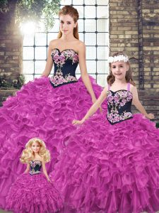 Fuchsia Ball Gowns Sweetheart Sleeveless Organza Lace Up Embroidery and Ruffles 15th Birthday Dress
