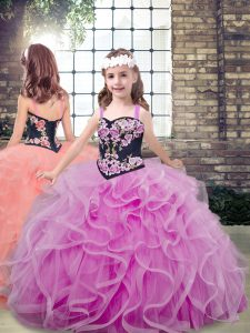 Lilac Little Girl Pageant Gowns Party and Wedding Party with Embroidery and Ruffles Straps Sleeveless Lace Up