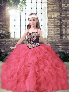 Beautiful Ball Gowns Little Girl Pageant Dress Coral Red Straps Tulle Sleeveless Floor Length Lace Up