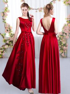 Floor Length Red Quinceanera Dama Dress Satin Sleeveless Beading and Appliques