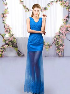 Low Price Lace Vestidos de Damas Royal Blue Lace Up Sleeveless Floor Length