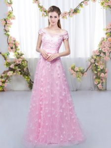 Off The Shoulder Cap Sleeves Lace Up Dama Dress Rose Pink Tulle