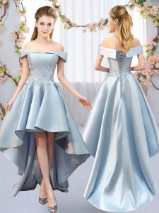 Chic Sleeveless Satin High Low Lace Up Quinceanera Dama Dress in Light Blue with Appliques