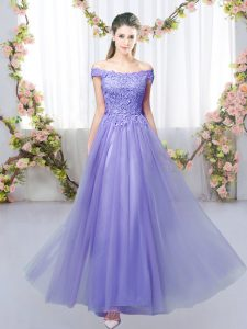 Fitting Lavender Quinceanera Court of Honor Dress Prom and Party and Wedding Party with Lace Off The Shoulder Sleeveless Lace Up
