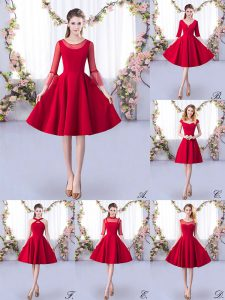 Simple Red Zipper Scoop Ruching Quinceanera Court Dresses Satin 3 4 Length Sleeve