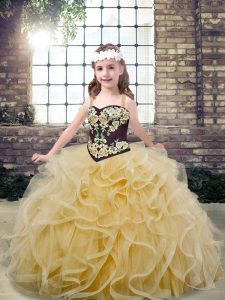 Champagne Sleeveless Floor Length Embroidery and Ruffles Lace Up Little Girl Pageant Dress