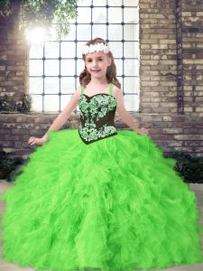 Straps Sleeveless Little Girl Pageant Gowns Floor Length Embroidery and Ruffles Tulle