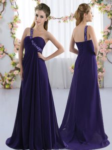 Sexy Beading Quinceanera Court of Honor Dress Purple Lace Up Sleeveless Brush Train