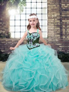 Sleeveless Tulle Floor Length Lace Up Little Girls Pageant Dress in Aqua Blue with Embroidery and Ruffles