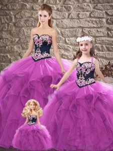 Inexpensive Purple Sleeveless Tulle Lace Up Quinceanera Gowns for Sweet 16 and Quinceanera