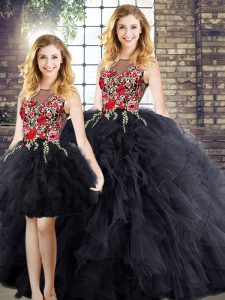 Edgy Embroidery and Ruffles Quinceanera Dresses Black Zipper Sleeveless Floor Length