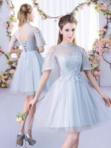 Excellent High-neck Short Sleeves Dama Dress for Quinceanera Mini Length Lace Grey Tulle