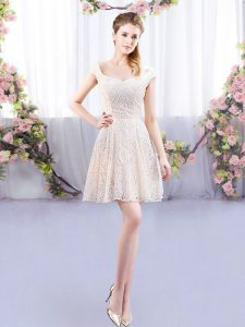 Affordable Champagne Cap Sleeves Mini Length Lace Lace Up Quinceanera Court of Honor Dress