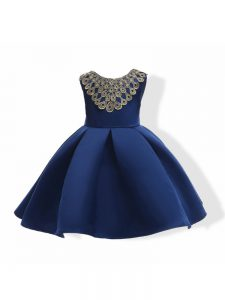 High End Navy Blue Sleeveless Appliques and Bowknot Mini Length Kids Formal Wear