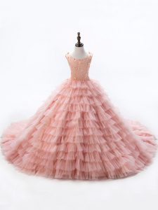 Pink Sleeveless Beading and Ruffled Layers Lace Up Little Girls Pageant Dress