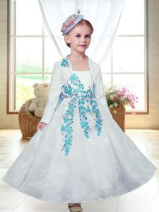 White A-line Straps Sleeveless Lace Ankle Length Zipper Embroidery Flower Girl Dresses