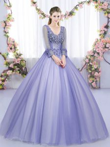 Pretty Lavender V-neck Lace Up Lace and Appliques Quinceanera Dresses Long Sleeves