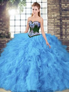 Baby Blue Sleeveless Beading and Embroidery Floor Length 15th Birthday Dress