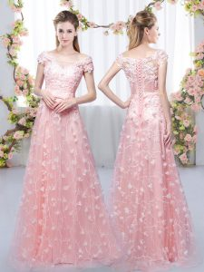 Pink Lace Up Off The Shoulder Appliques Dama Dress for Quinceanera Tulle Cap Sleeves