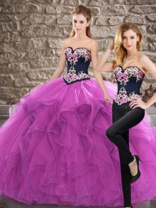 Trendy Sleeveless Sweep Train Lace Up Quince Ball Gowns in Purple with Embroidery and Ruffles