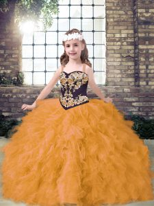 Gold Little Girl Pageant Gowns Party and Wedding Party with Embroidery and Ruffles Straps Sleeveless Lace Up