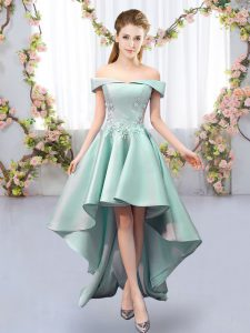 Suitable Off The Shoulder Sleeveless Lace Up Dama Dress for Quinceanera Apple Green Satin