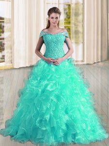 Great Sleeveless Sweep Train Lace Up Beading and Lace and Ruffles 15 Quinceanera Dress