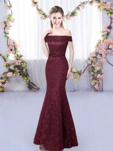 Comfortable Lace Quinceanera Court of Honor Dress Burgundy Lace Up Sleeveless Floor Length