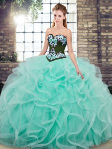 Exceptional Aqua Blue Vestidos de Quinceanera Military Ball and Sweet 16 and Quinceanera with Embroidery and Ruffles Sweetheart Sleeveless Sweep Train Lace Up