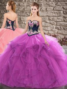 Shining Purple Ball Gowns Beading and Embroidery Vestidos de Quinceanera Lace Up Tulle Sleeveless Floor Length