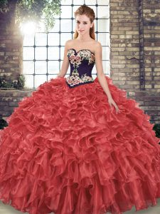 Sleeveless Organza Sweep Train Lace Up Vestidos de Quinceanera in Red with Embroidery and Ruffles