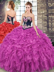 Simple Fuchsia Quince Ball Gowns Sweetheart Sleeveless Sweep Train Lace Up
