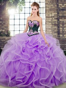 Customized Ball Gowns Sleeveless Lavender Sweet 16 Quinceanera Dress Sweep Train Lace Up