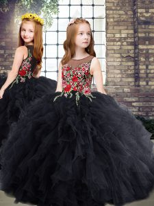 Gorgeous Floor Length Black Little Girls Pageant Gowns Scoop Sleeveless Zipper