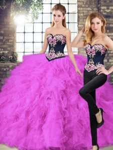 Fuchsia Sleeveless Floor Length Beading and Embroidery Lace Up 15th Birthday Dress