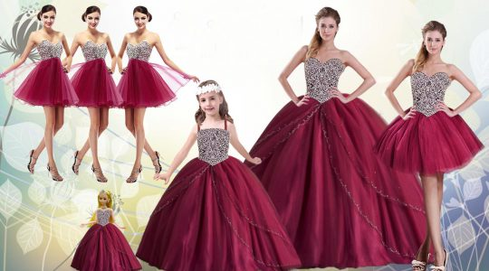 Hot Sale Beading Vestidos de Quinceanera Red Lace Up Sleeveless Floor Length