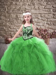 Adorable Floor Length Green Little Girls Pageant Dress Straps Sleeveless Lace Up