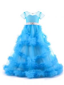V-neck Short Sleeves Backless Little Girl Pageant Dress Baby Blue Tulle