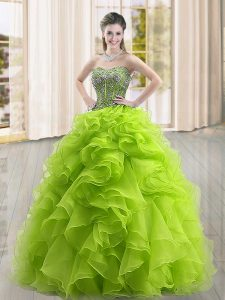 Sumptuous Floor Length Yellow Green Sweet 16 Quinceanera Dress Organza Sleeveless Beading and Ruffles
