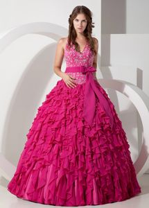 Pieces Ruffles and Halter Embroidery Quinceanera Dress in Hot Pink