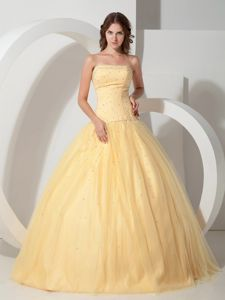 Light Yellow Beading Bodice for 2013 Quinceanera Dress with Pleating