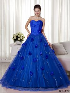 Tulle Overlay with Handle Flowers and Beading Dress for Quinceanera
