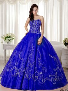 Silver Embroidery and Beading Quinceanera Dress to Floor Length