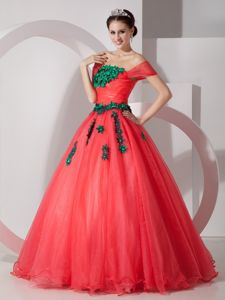 Coral Red Princess off the Shoulder Dresses 15 with Green Applique