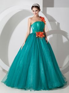 Teal One Shoulder Hand Made Flowers and Ruching Sweet16 Dresses