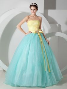 Light Blue and Yellow Sash Quinceanea Dress with Ruching Bodice